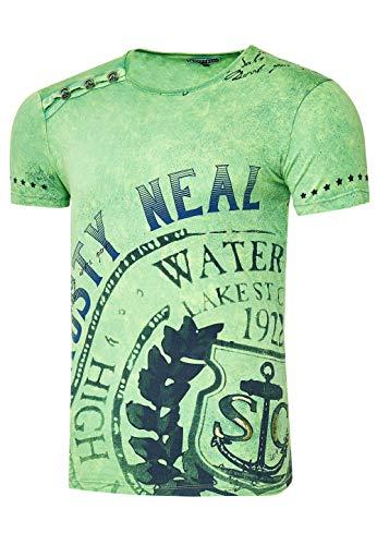 Rusty Neal Herren T-Shirt Rundhals Auffälliger Druck Tee Shirt Kurzarm Regular Fit Stretch 100% Baumwolle S M L XL XXL 3XL 233, Farbe:Hell Grün, Größe:L