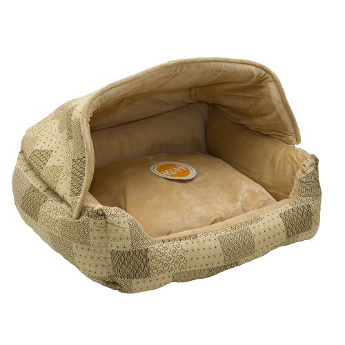 K&H Pet Products Hooded Lounge Sleeper Pet Bed Tan Patchwork Print 20' x 25'