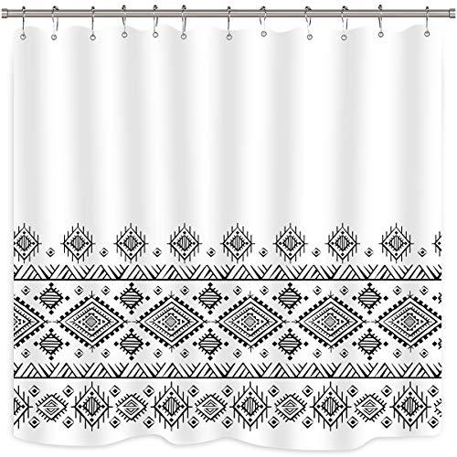 Riyidecor Black White Geometric Boho Shower Curtain Striped Chevron Fringe Polyester Chic Decor Fabric Waterproof 72x72 Inch 12 Pack Plastic Shower Hooks