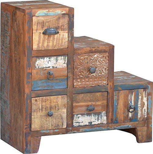 Guru-Shop Ladekast met 6 Lades in Vintage Uitvoering - Model 12, Bruin, 68x66x30 cm, Kleine Kasten