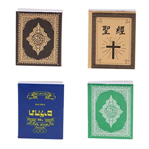 B Blesiya 4 Unidades Modelo Libros de Biblia en Miniatura para Casa de Muñecas Escala 1/6, Juguete de Simulación