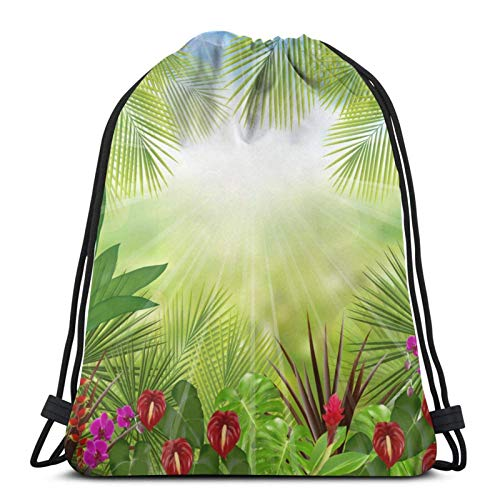 Lsjuee Beautiful Sun TropicalDrawstring Backpack Sports Fitness Backpack Waterproof Men's and Women's Waist Bag Travel Yoga Beach School
