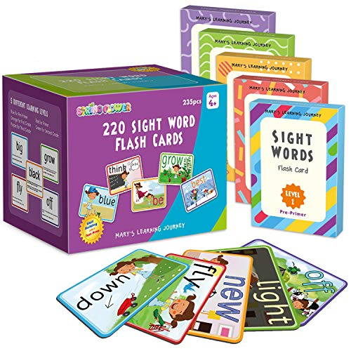 SpringFlower Sight Words Flash Cards with Pictures,Motions&Sentences, 220 Dolch Sight Words for...