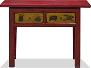 China Furniture Online Vintage Elmwood Console Table, Distressed Red and Yellow
