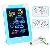 GHmarine Tableta de Escritura LCD para niños,Juguetes de Pintura de 10 Pulgadas|3D LED Luminoso Magic Drawing Pad Toys - Bloc de Notas de Dibujo borrable (Azul)