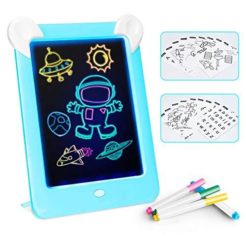 Febelle Tableta de Escritura LCD para niños,Juguete de Tablero Tablero de Escritura de 10 Pulgadas|3D LED Luminoso Magic Drawing Pad Toys, Bloc de Notas de Dibujo borrable (Azul)