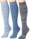 Tipi Toe Women's 3 Pairs Ragg Marled Ribbed Mid-Calf High Wool-Blend Boot Socks