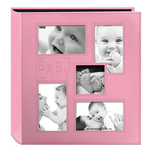 Pioneer Collage Frame Embossed Baby Sewn Leatherette Cover Photo Album, Baby Pink -$20.99(16% Off)