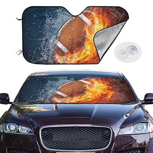 HHJJI American Football in Feuer und Wasser Windschutzscheibe Sonnenschutz für maximalen UV- und Sonnenschutz -Faltbarer Sonnenschutz für Auto Windschutzscheibe hält Ihr Auto kühler-Windschutzscheibe