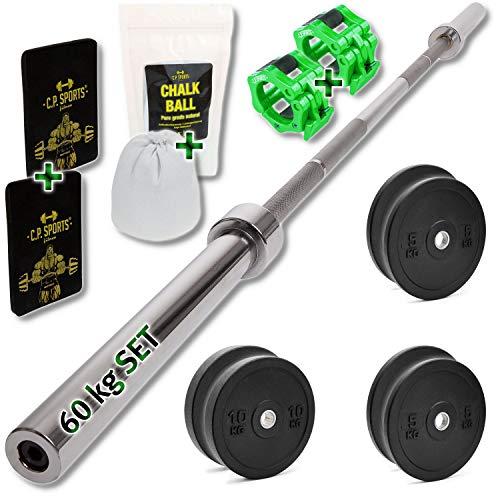 C.P. Sports - Set di dischi in gomma – bumper plates – da 60 kg, 50 mm, coppia + bilanciere olimpica in acciaio e accessori, pesi per bilanciere, sollevamento pesi, palestra, competizioni