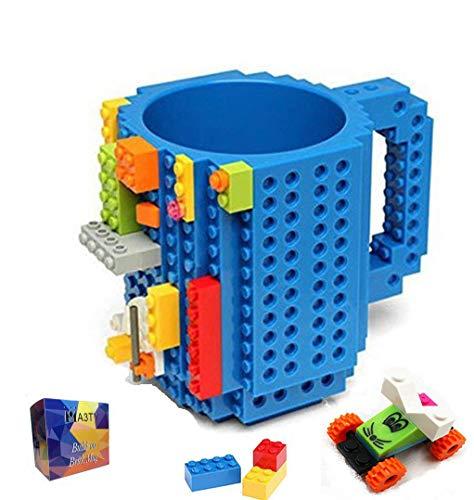 Build-On Brick Mug Taza de café DIY Bloques de construcción creativos,Juegos de construcción, diseño Taza, Compatible con Lego(Azúl)