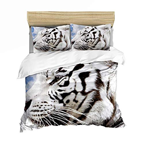 Boys 3D Printed Tiger Bedding Set Bedding Set 100% Polyester with Zipper Duvet Cover 2/3 Pieces with Pillowcase, Twin, Single, Tigre 7, 140x200CM