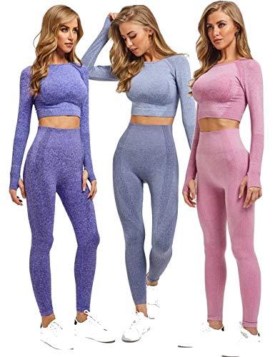 Criskat - Set di abbigliamento sportivo da donna, a maniche lunghe, 2 pezzi, pantaloni a vita alta, per yoga, corsa e palestra Completo rosa S