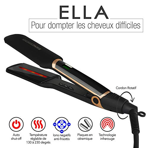 MadameParis Ella - Plancha de pelo con planchas anchas, alisador de pelo...