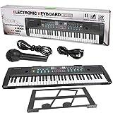 tastiera elettronica pianoforte 61 tasti, organo elettronico portatile con microfono e leggio, tastiera musicale giocattolo per bambini per principianti, nero,76 x 20 x 6 cm
