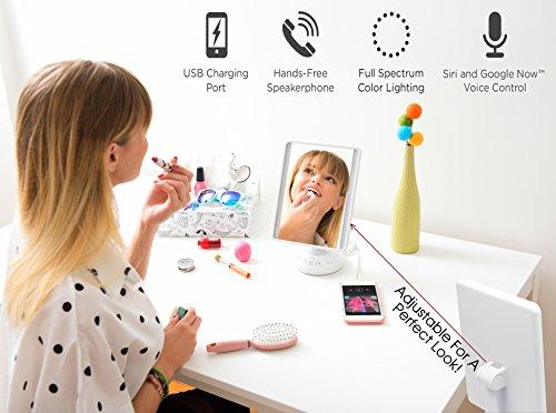 "iHome 7"" x 9"" Reflect iCVBT2 Adjustable Vanity Mirror with Bluetooth Audio, Hands-Free Speakerphone, LED Lighting, Siri & Google Support USB Charging, Flat Panel LED Lighting (White) (White, 7"" x 9"")"
