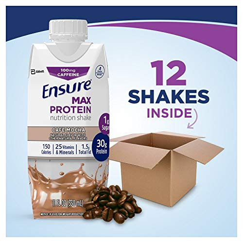 Ensure Max Protein Nutritional Shake with 30g of High-Quality Protein, 1g of Sugar, High Protein Shake, Café Mocha, 11 fl oz, 12 Count