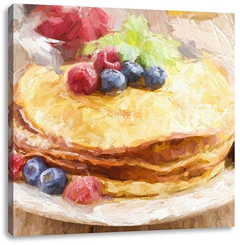 Pixxprint frittelle Dolci con Frutti di Bosco Stampa su Tela 70x70 cm Artistica murale
