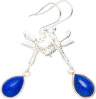 Natural Lapis Lazuli Handmade Unique 925 Sterling Silver Earrings 2