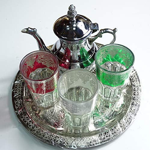kenta artesanias juegos de té marroqui Original 3 Vasos, Tetera para 3...