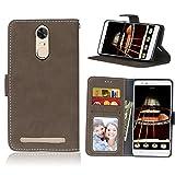 Funda Lenovo K5 Note A7020,Bookstyle 3 Card Slot PU Cuero Cartera para TPU Silicone Case Cover(Castaño)