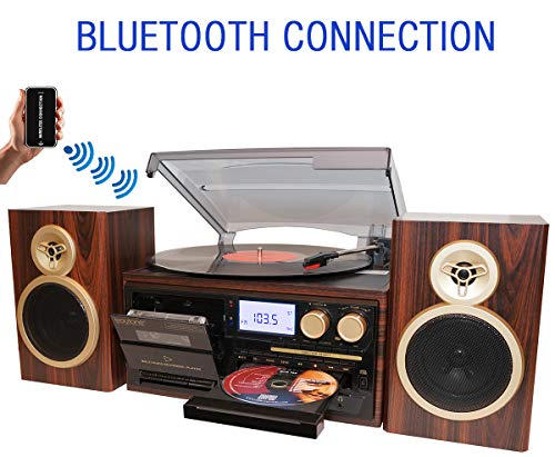 Fantastic Prices! Boytone BT-28SPM, Bluetooth Classic Style Record Player Turntable with AM/FM Radio...