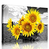Canvas Wall Art for Kitchen Family Wall Decorations for Bedroom Modern Bathroom Office Wall Decor Paintings Yellow Sunflower Flowers Pictures Artwork Farmhouse Canvas Art Print Dining Room Home Decor