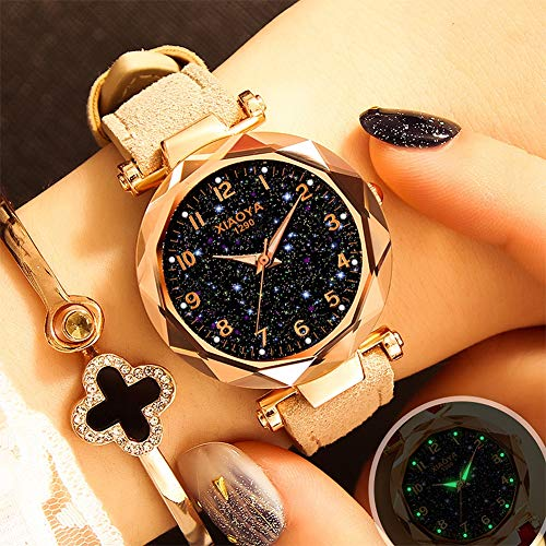 QZY Señoras Relojes de Moda Dial Diamond 3D Corte, PU Cinturón Cuero...
