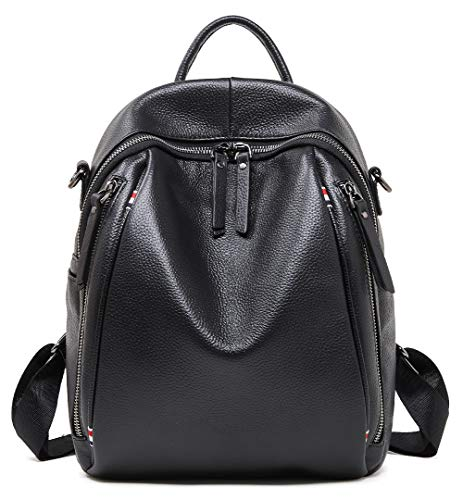BOYATU Genuine Leather Backpack Purse for Women School Shoulder Bag Black Size: Convertible