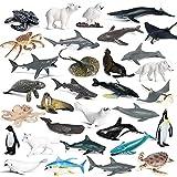 RCOMG 32PCS Mini Sea Creature Figures Toy, Plastic Ocean Animal Figurine Set with Sharks Whales Arctic Animals etc, Realistic Educational Marine Miniature Animal Playset for Bath Pool Toy, Cake Topper