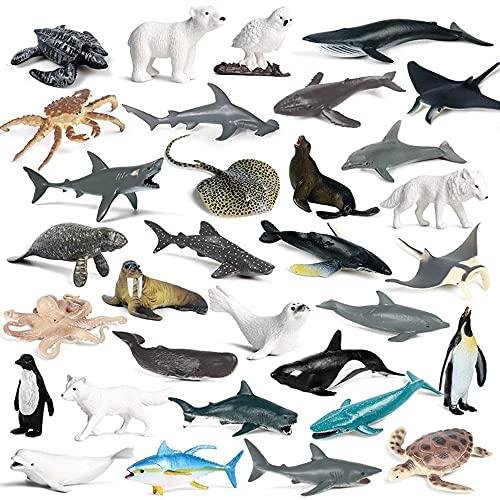 RCOMG 32PCS Mini Sea Creature Figures Toy  Plastic Ocean Animal Figurine Set with Sharks Whales Arctic Animals etc  Realistic Educational Marine Miniature Animal Playset for Bath Pool Toy  Cake Topper