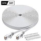 Cat6 Ethernet Cable 50 FT White, BUSOHE Cat-6 Flat RJ45...