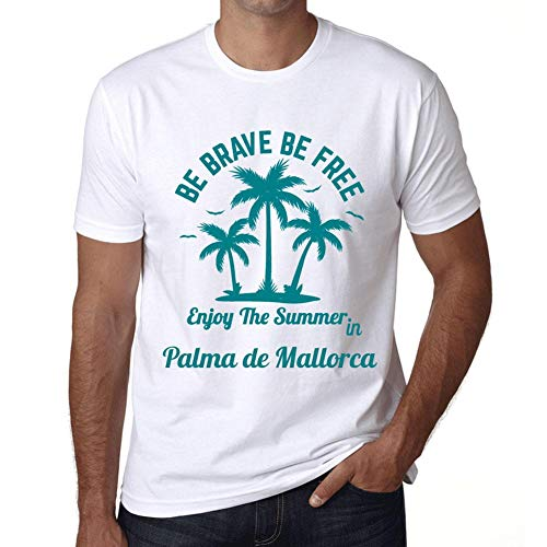 Hombre Camiseta Gráfico T-Shirt Be Brave & Free Enjoy The Summer Palma de Mallorca Blanco
