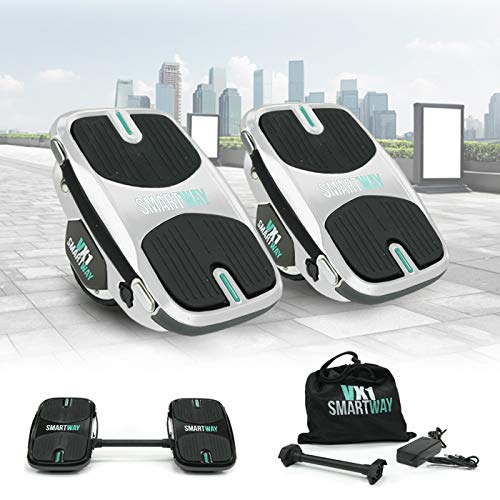 Smartway 2in1 Hovershoes 500W Elektro Hoverskates Balance Scooter Hoverboard Rollschuhe Hoverschuhe E-Scooter (Weiss)