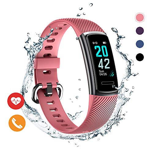 Huyeta Fitness Armband mit Pulsmesser herzfrequenz IP68 Wasserdicht Uhr Fitness Tracker mit Schlafmonitor Pulsuhren Aktivitätstracker Smart Armbanduhr Schrittzähler Damen Herren mit GPS SMS
