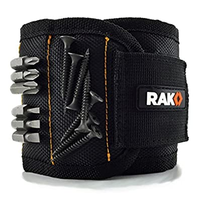 RAK Magnetic Wristband with Strong Magnets for Holding Screws, Nails, Drill Bits - Best Unique Tool Gift for DIY Handyman, Father/Dad, Husband, Boyfriend, Men, Women
