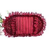 JIAXIA Cubierta para el Volante Rose Red Car Accesorios de decoración de Interiores Seda Encaje Cubierta del Volante Reposacabezas Almohadas del Asiento Reposabrazos Fundas de Cojines Cinturón de