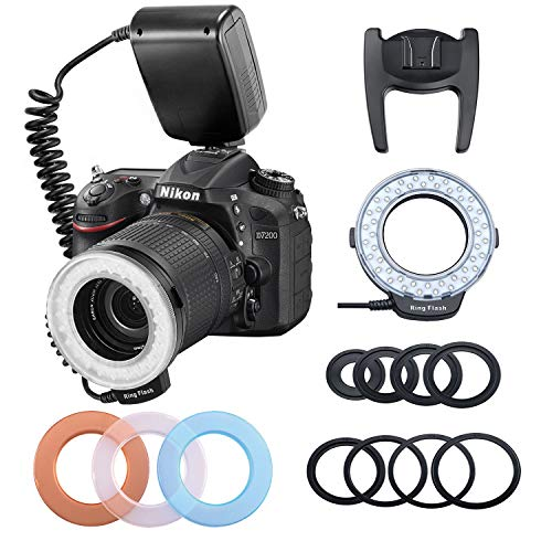 HONGDAK 48 Macro LED Ring Flash Bundle Light with LCD Display 8 Adapter Rings and Flash Diffusers Macro Photography Light for Canon Nikon and Other DSLR Cameras Macro Ring Light