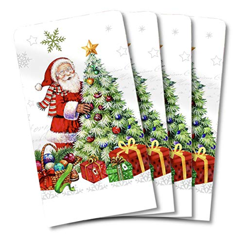 JJ Collection 4 Pack Christmas Holiday Absorbent Kitchen Dish Towels 15x25 Cotton Poly (Santa and Tree)