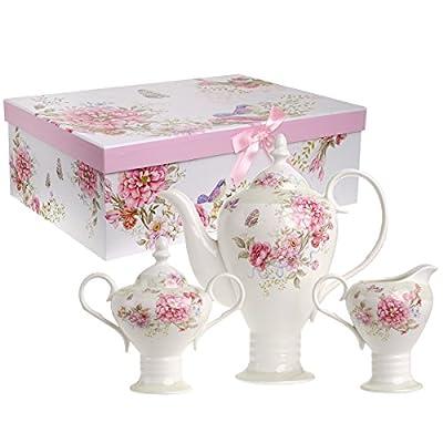 Service à thé en porcelaine de style rétro chic à motif floral avec théière, sucrier, pot à crème et coffret cadeau 1000ml