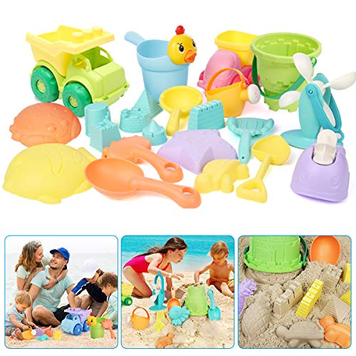 OFOCASE Beach Sand Toys Set, 22 Pieces Beach Sand Toys Playset for Kids,Outdoor Sandbox Toys Includes Waterwheel Beach Buggy Bucket Watering Can Animals Castle Building Tools Kit for Boys Girl