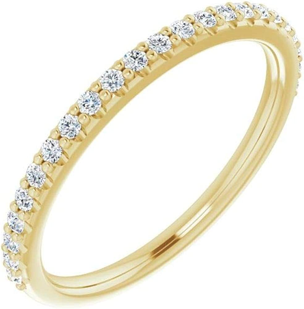 Solid 14k Yellow Gold 1/5 Cttw Diamond Curved Notched Wedding Band for 6.5mm Round Ring Guard Enhancer - Size 7