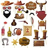 Western Cowboy Photo Booth Props Bandana Wild West Party Accessory Funny Barnyard Theme Selfie Props Western Cowboy Party Decoration for Kids Boys Girls Baby Shower ,1st Birthday Party Supplies 30pcs