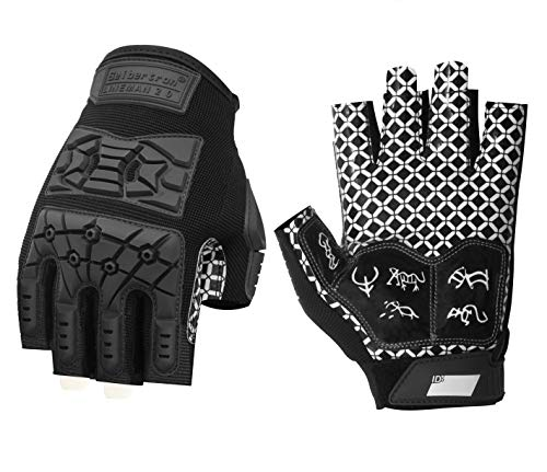 Seibertron Lineman 2.0 Padded Palm Football Receiver Half Finger Gloves, Flexible TPR Impact Protection Back of Hand Glove Youth Black L