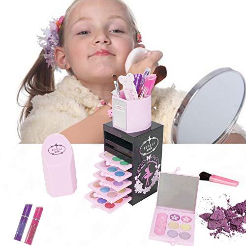 Flytise Cosmétiques pour Enfants Boîte de Maquillage Ensemble de Maquillage Lavable Ombre à paupières Brillant à lèvres Blush Rouge à lèvres Ensemble cosmétique Fille Faire Semblant de Jouer