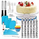 Rmine Set Decorazioni Torte Pasticceria, 106pcs Utensili da Decorazione per Torte Includere Supporto per Giradischi Rotante, Spatola Tagliapasta, Adatta per Cupcake Dolci Torta (Blu-106pcs)