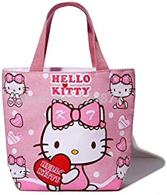 fab119c9f2bd Hello Kitty Tote Lunch Bag for Girls Cartoon Mini Small Lunch Box Bags  Zipper Cute Picnic