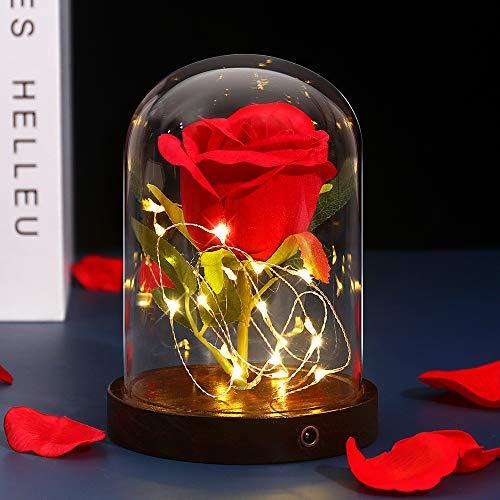 shirylzee Rosas La Bella y la Bestia Rosa Encantada Seda Roja y luz LED en Cúpula de Cristal sobre una Base de Madera para día de San Valentín, Boda, Aniversario, Cumpleaños