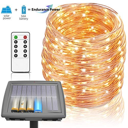 100 Ft Solar Lights Outdoor Tuin Fairy Lights String Lights Aangedreven door zonne-energie en batterij, 8 Modi 300 LEDs IP67 Waterdichte Zonne-Touw Lights met RF Afstandsbediening voor Patio Tuin Party Decor (Warm Wit)
