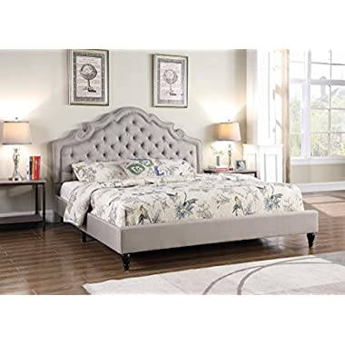 Home Life Premiere Classics Cloth Light Grey Silver Linen 51  Tall Headboard Platform Bed with Slats Queen - Complete Bed 5 Year Warranty Included 023